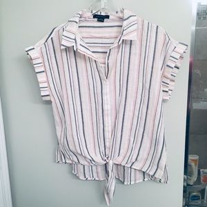 Sanctuary White and Pink Striped Cropped Blouse